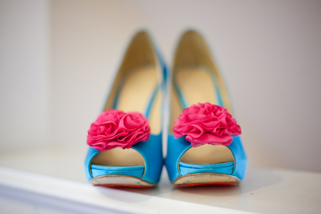 teal and pink wedding shoes