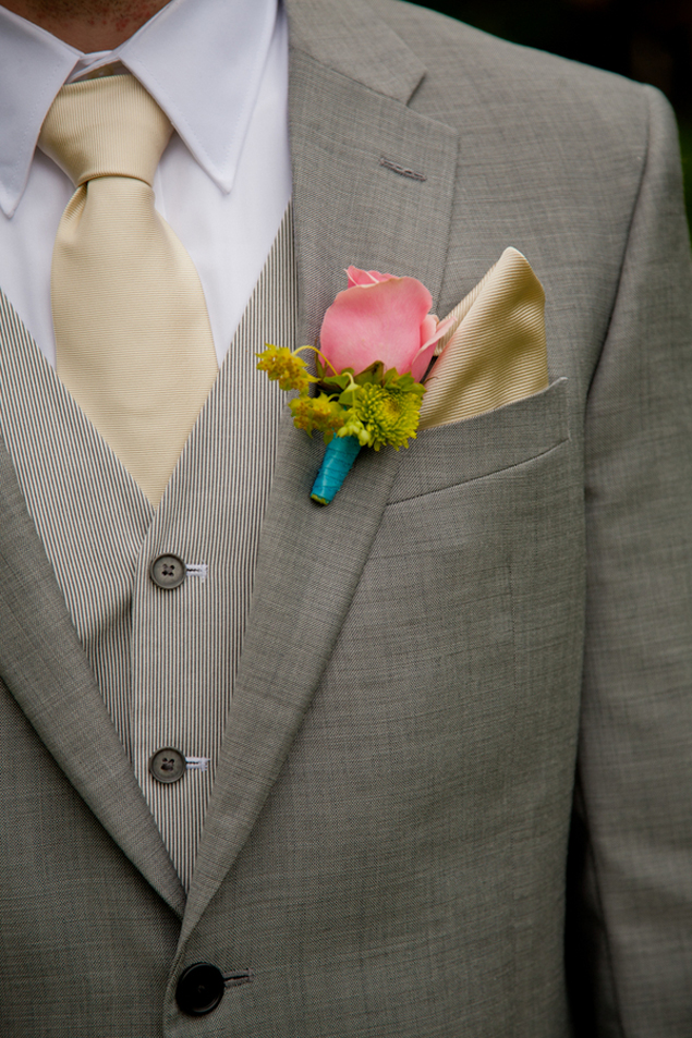 pink teal boutonniere