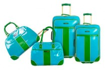 green blue luggage
