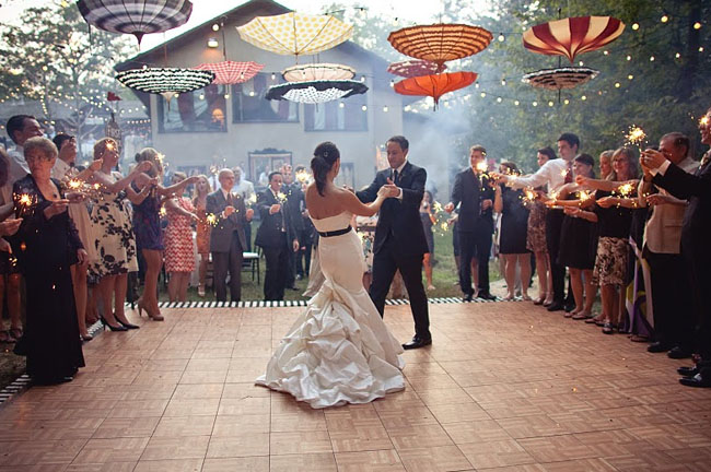 wedding parasols dancefloor