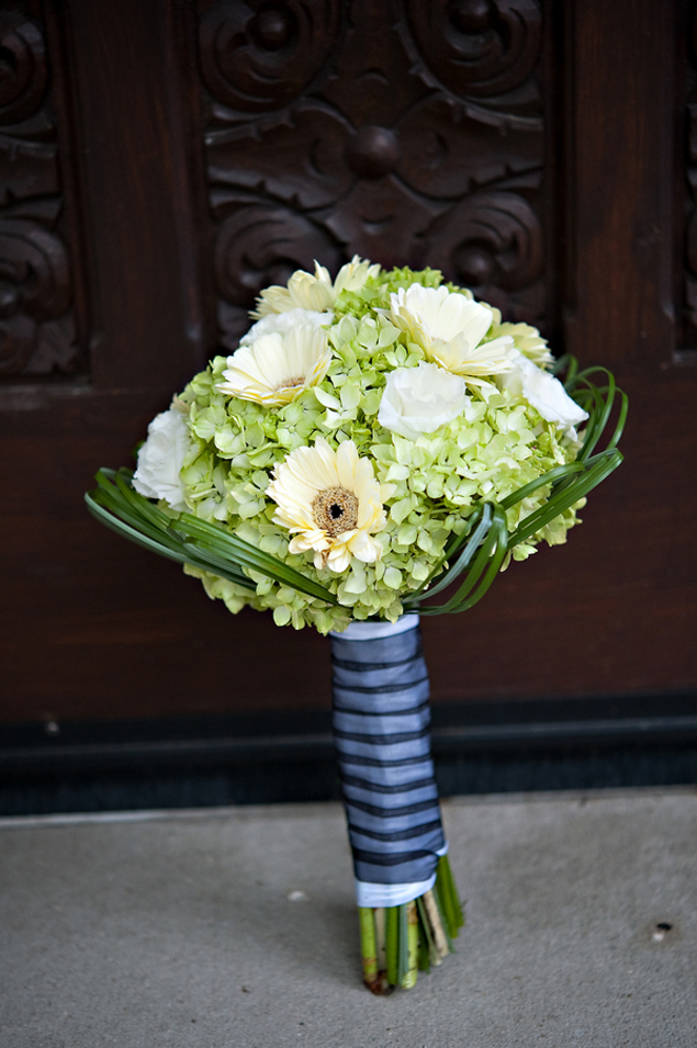 Green white blue wedding bouquet