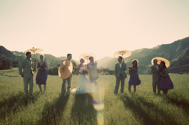 Wedding Party with Parasols