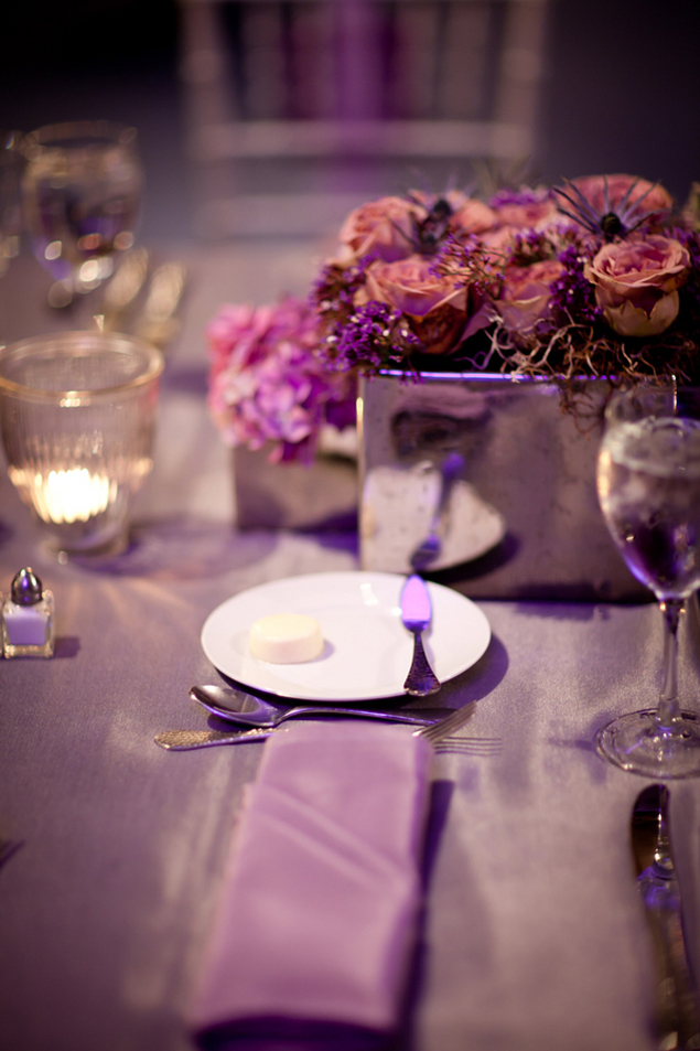 purple wedding place setting