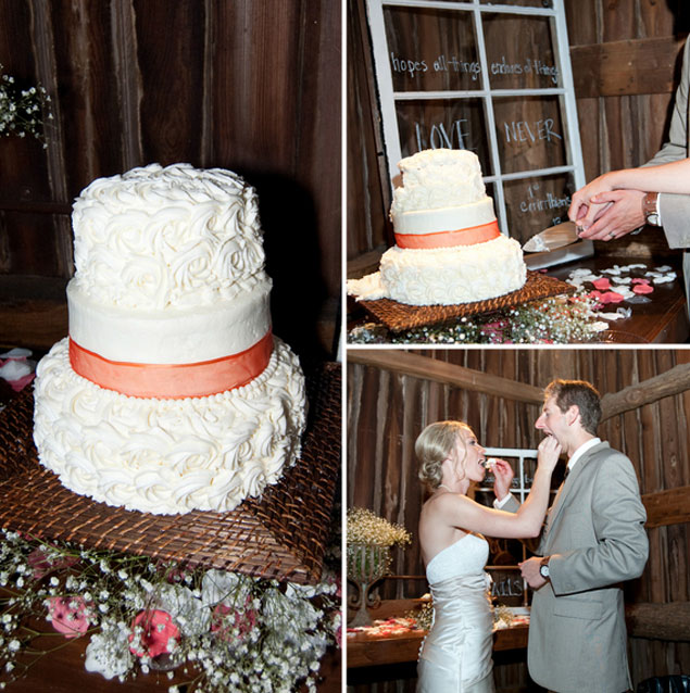 White Peach Wedding Cake