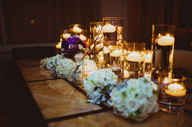 Candle and Floral Wedding Decor