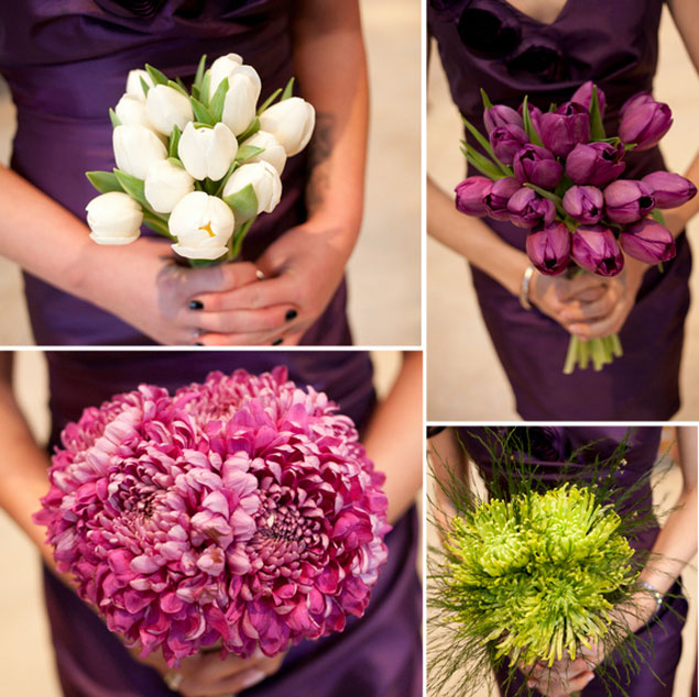 Purple Green Bridesmaid Bouquets