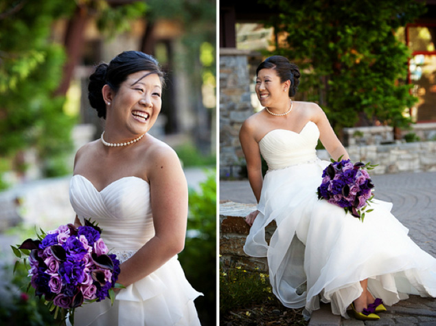 Bride and Purple Bouquet