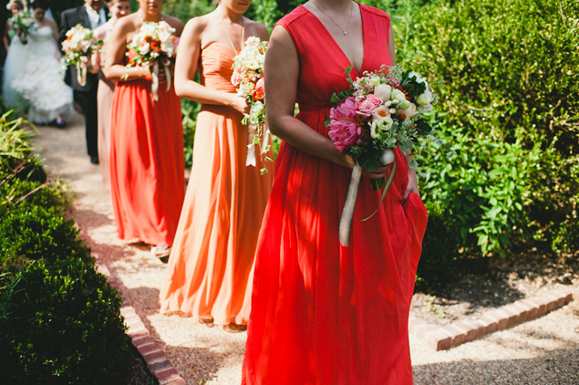 Red and Orange Bridesmaid Dresses