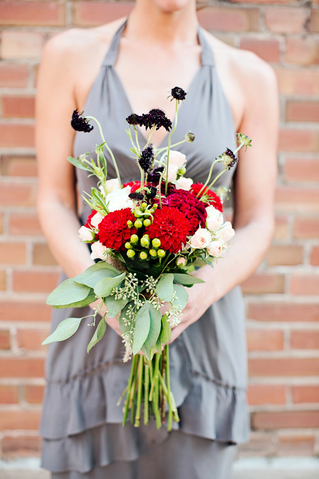 Bridal Bouquet Red White Black