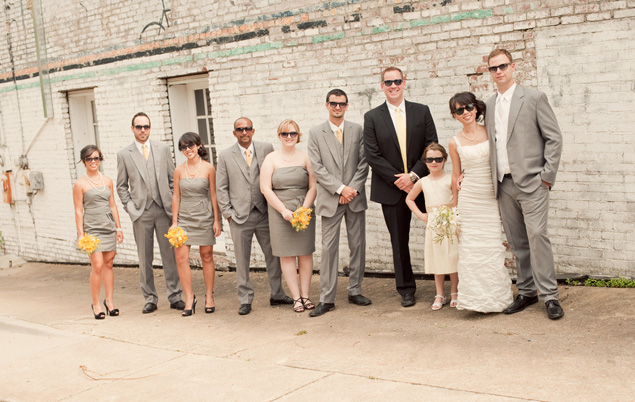 Grey and Yellow Wedding Party