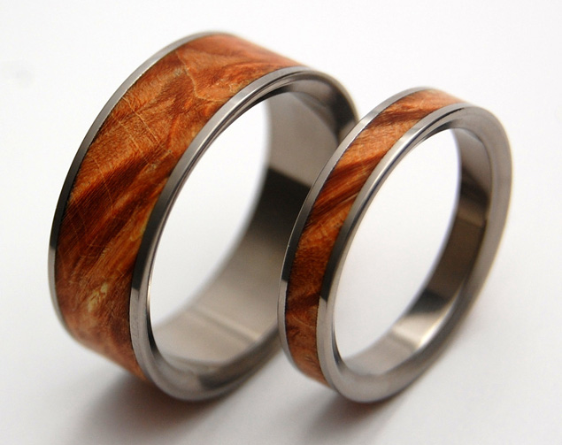 Wood and Titanium Wedding Bands