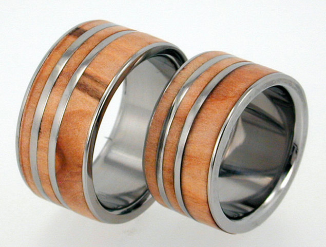 Wood and Titanium Wedding Band