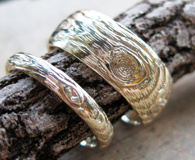 Faux Wood Wedding Bands