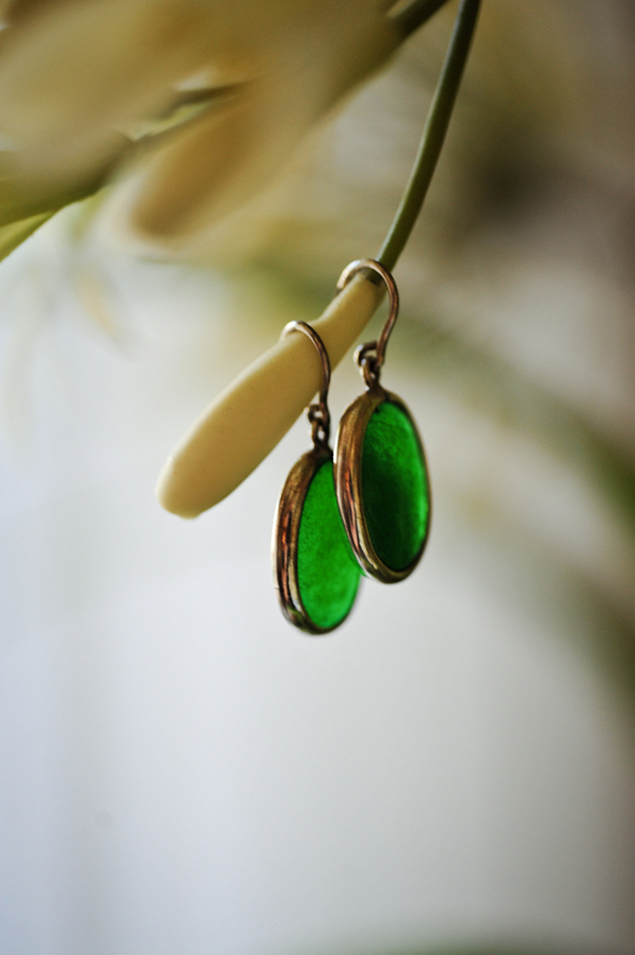 Green Bridal Earrings