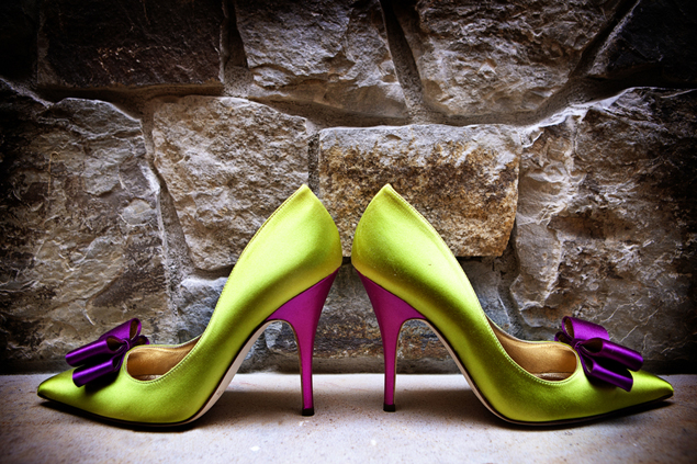 Purple and Green Wedding Shoes