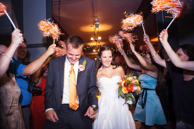 Pom pom wedding exit