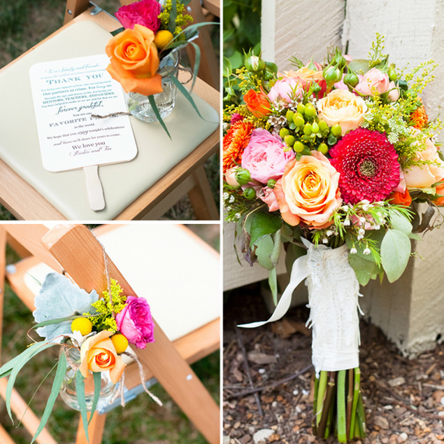 Orange and Pink Wedding Flowers