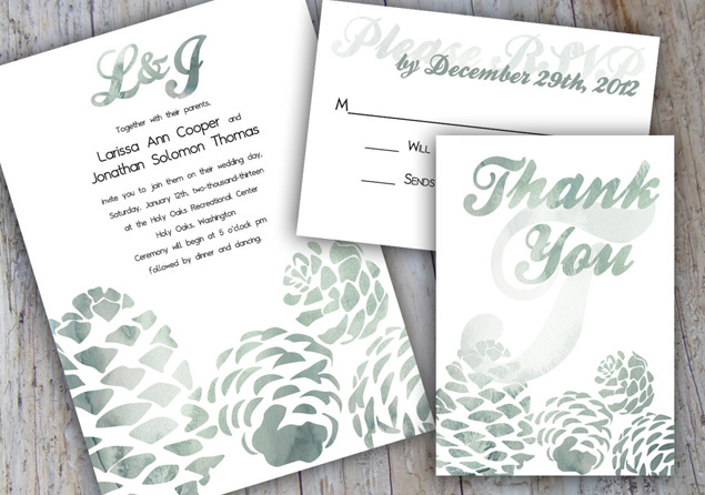 Etsy Eye Candy Winter Wedding Invitations
