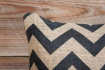 Chevron Burlap Pillow