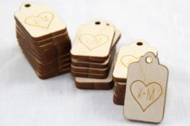 Custom Heart Favor Tags
