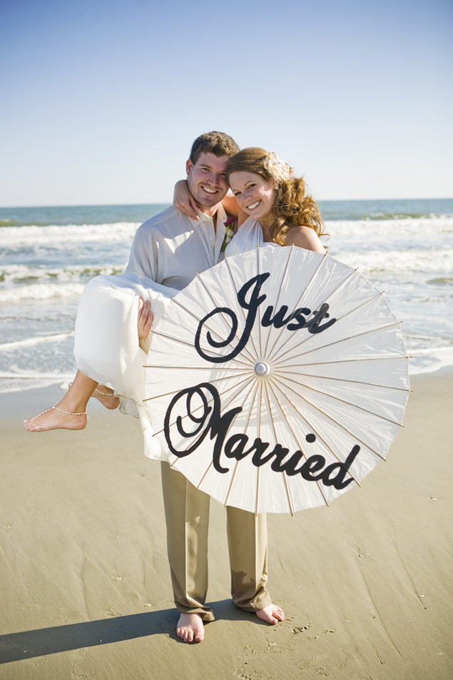 Beach Just Married Photo