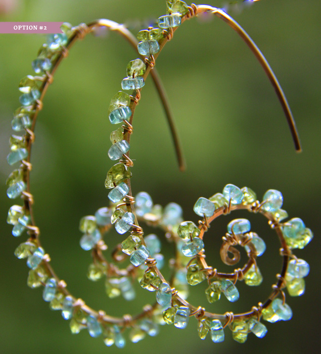 Beaded Spiral Wire Earrings