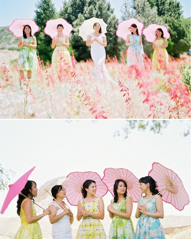 Bridesmaids with Pink Parasols