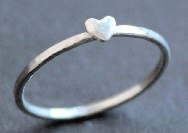 Small silver heart ring