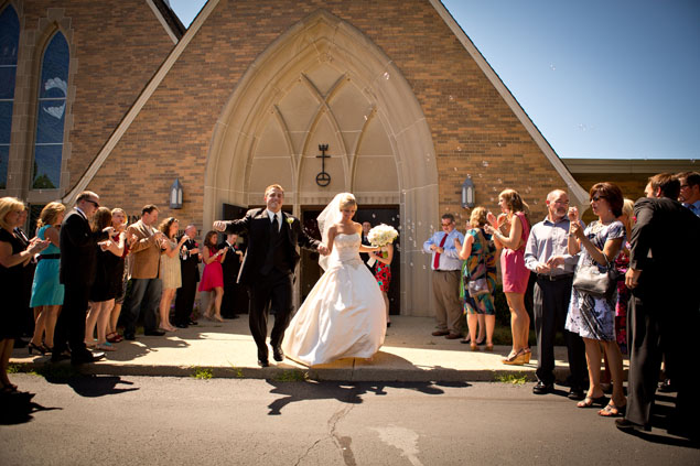 wedding church exits