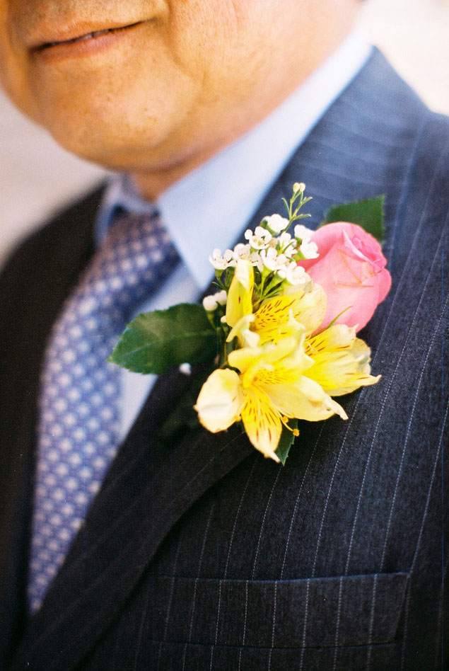 pink and yellow boutonniere