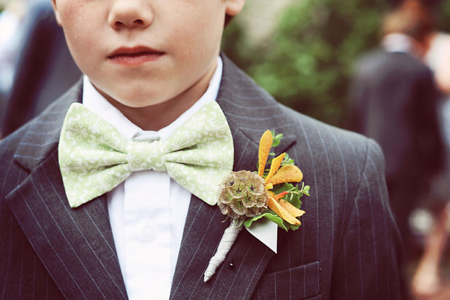 Bow tie and boutonniere