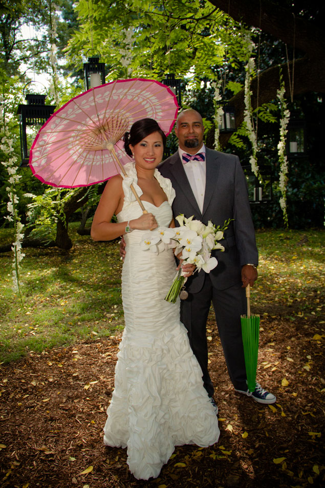 Bride and Groom with Parasol