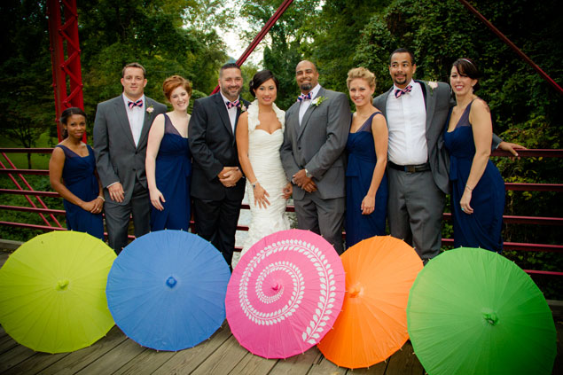 Wedding Party Photo with Parasols