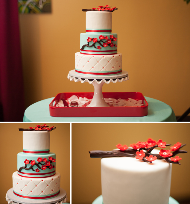 Red and Teal Wedding Cake