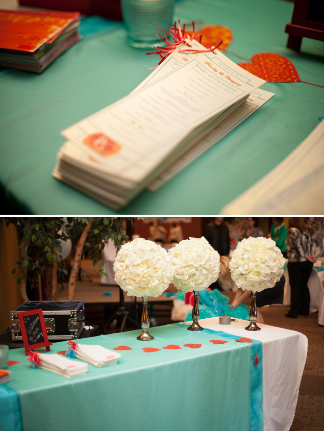 Teal & Red Wedding Details