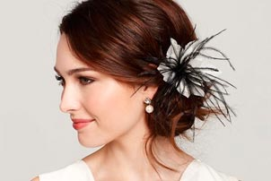 Floral Feather Hair Piece