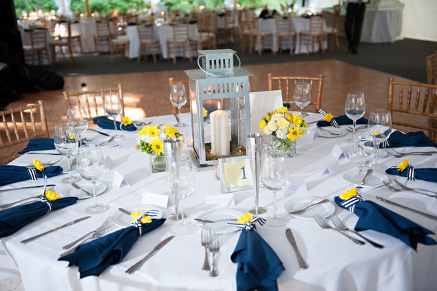 Wedding Table Settings: Navy & Yellow