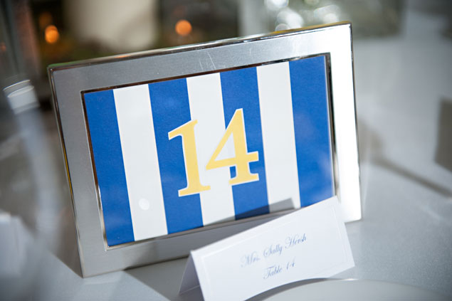 Yellow & Navy Table Numbers