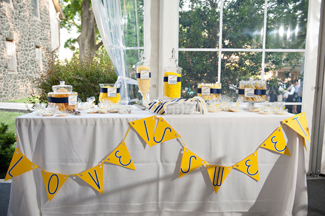 Yellow and Navy Sweets Table