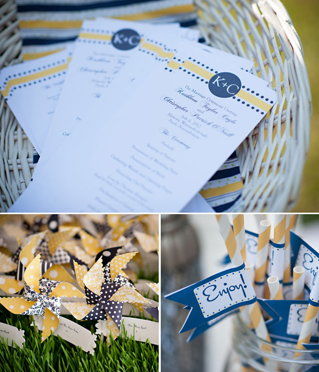 Navy and Yellow Wedding Details
