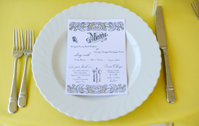 Wedding Place Setting & Menu