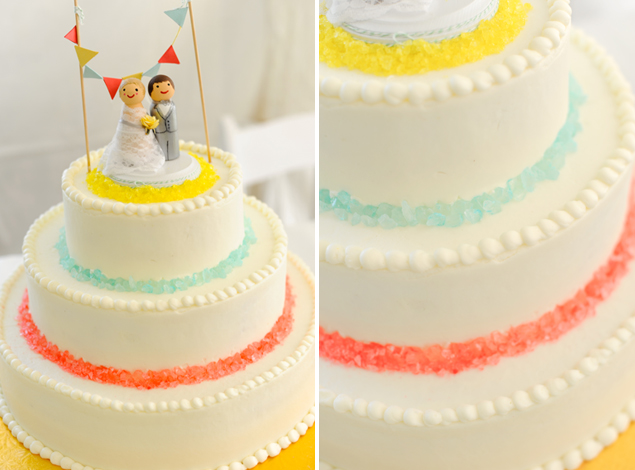 Colorful Wedding Cake & Topper
