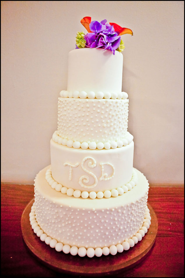White Wedding Cake with Monogram