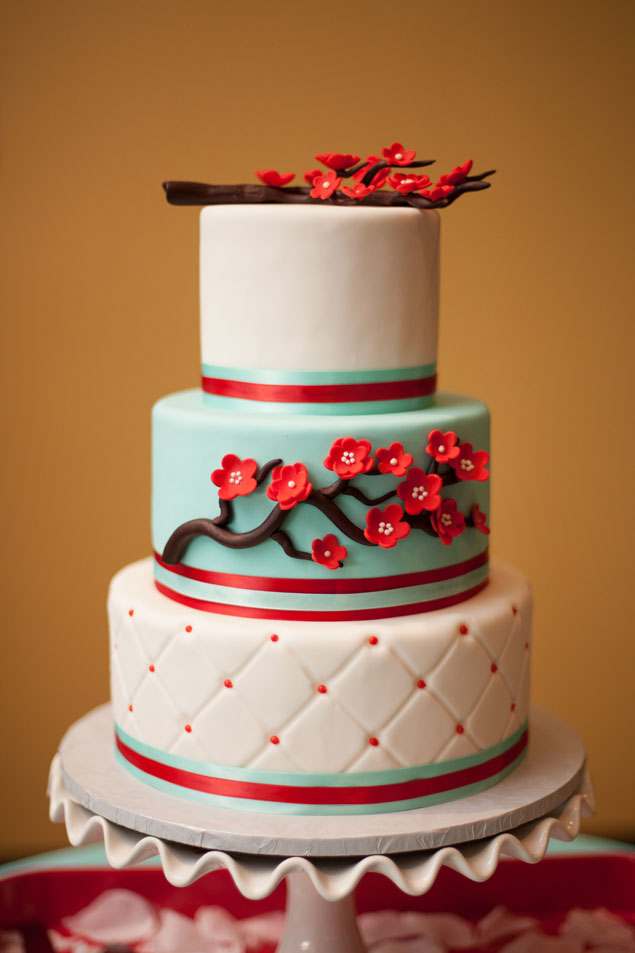 Red and Blue Wedding Cake