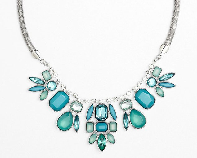 Blue Wedding Statement Necklace