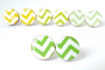 Green Chevron Studs