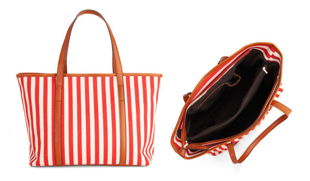 Red Striped Beach Tote