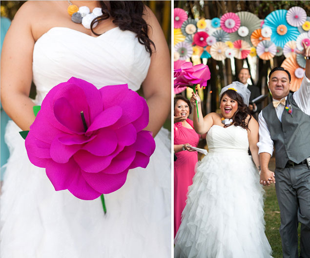 Pinkweddingbouquets 1g large hot pink paper flower from this up themed wedding photo source tim and jesspin it mightylinksfo Gallery
