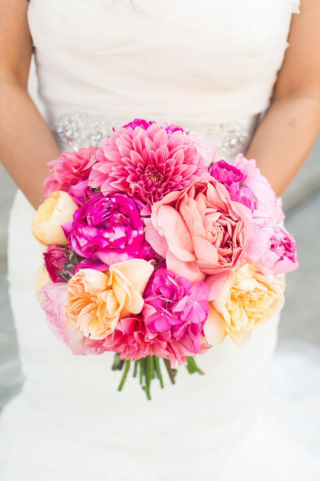 hot pink wedding bouquets, Natural flower