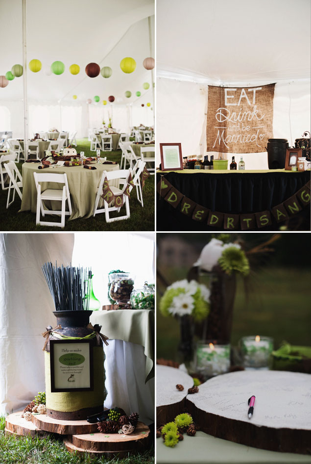 Green and Brown Reception Decor